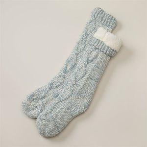 Indigo Chenille Twisted Cable Reading Socks Blue